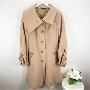 Mackage Tan Wool Cashmere Button Front Coat Jacket